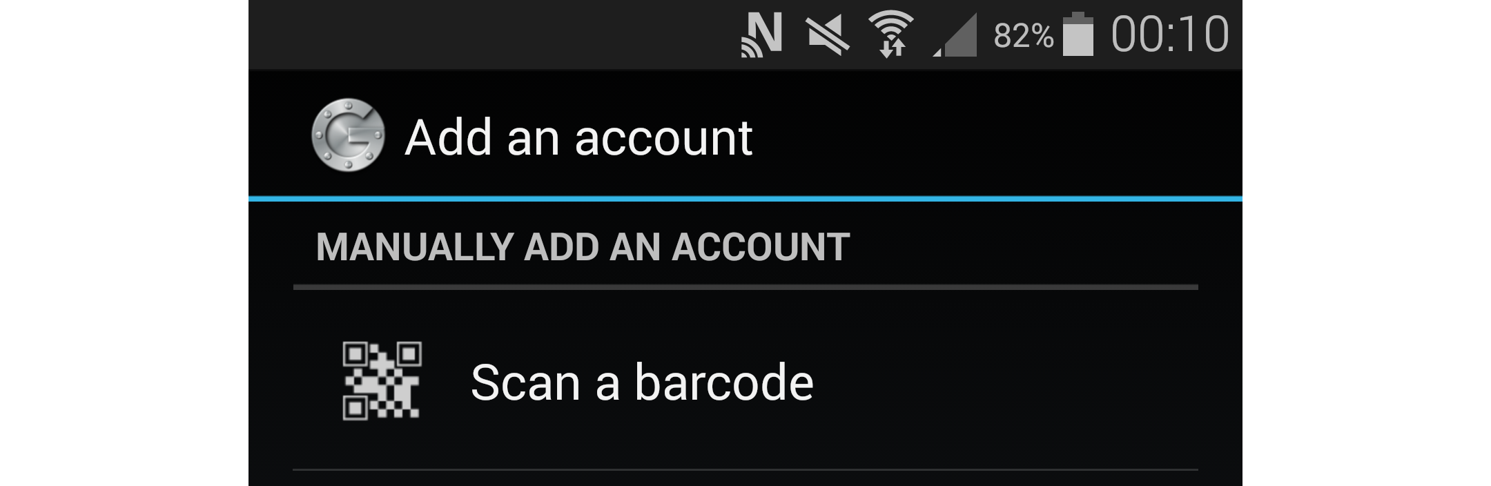 Google Authenticator Scan Barcode Menu